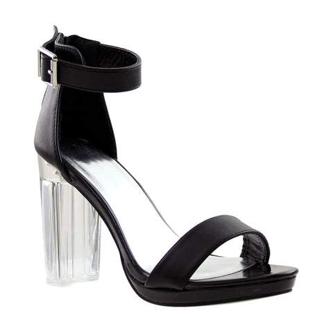 Womens Ankle Strap Block Heel Sandals Black