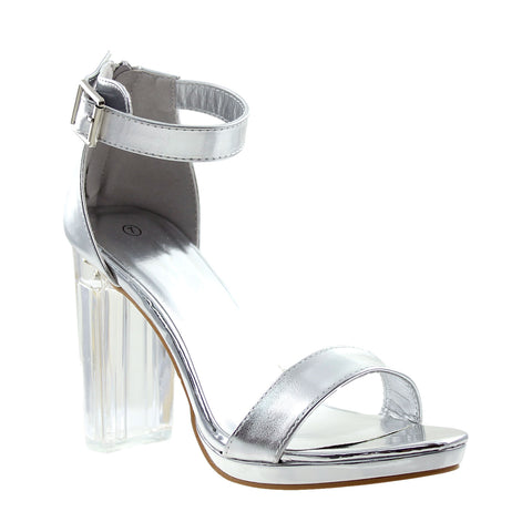 Womens Ankle Strap Block Heel Sandals Silver