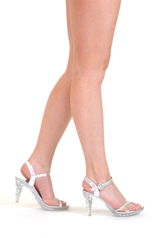Womens Rhinestone Heel Dress Sandals Silver