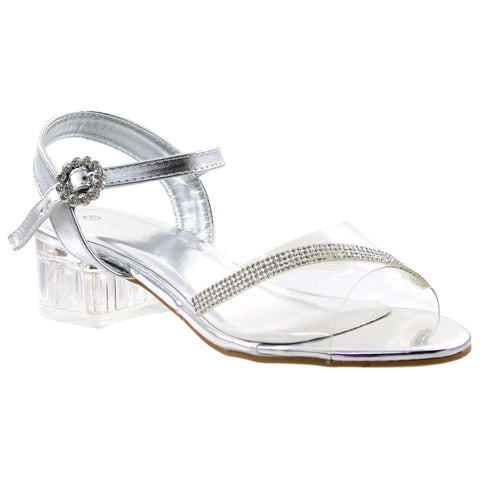 Womens Rhinestone Block Heel Sandals Silver
