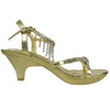 Womens Dress Sandals Low Heel Knotted Dangle Embellishments Gold