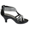 Kids Dress Sandals Embellished Overlay Twist Pageant High Heels black