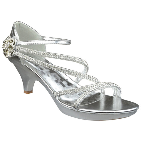 Womens Dress Sandals Low Heel Asymmetrical Strap Vintage Flower Silver