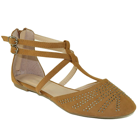 Womens Flat Sandals T Strap Gladiator Embellished Casual Dress Shoes Tan