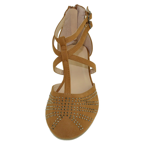a8413751210 Womens Flat Sandals T Strap Gladiator Embellished Casual Dress Shoes Tan