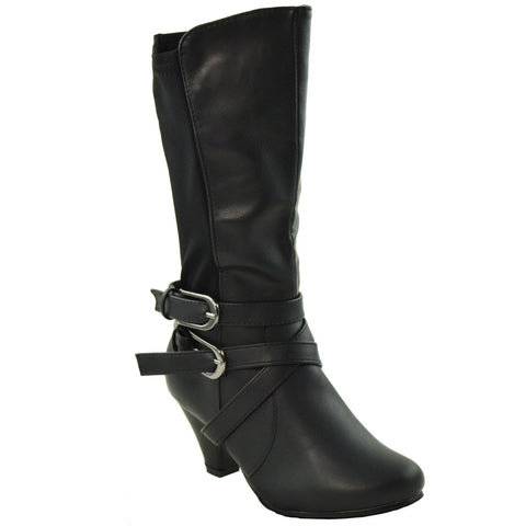 Kids Mid Calf Boots Elasticized Back Low Heel Double Side Buckles Black