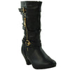 Kids Mid Calf Boots Double Adjustable Buckle Straps Low Heel Zip Up Shoes Black
