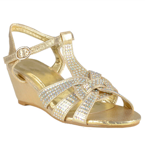 Womens Dress Sandals Braided Rhinestone Strappy Accented Wedges Gold
