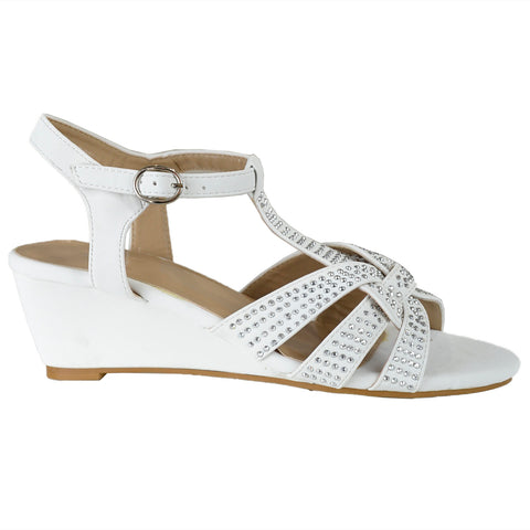 Womens Dress Sandals Braided Rhinestone Strappy Accented Wedges White