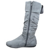 Womens Mid Calf Boots Knitted Cuff Leather Side Vintage Buckle Gray