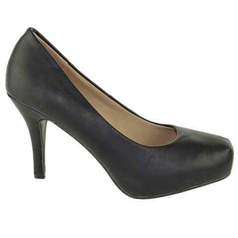 Womens Dress Shoes Square Toe Classy Slip On Pumps Black