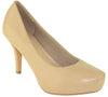 Womens Dress Shoes Square Toe Classy Slip On Pumps Taupe