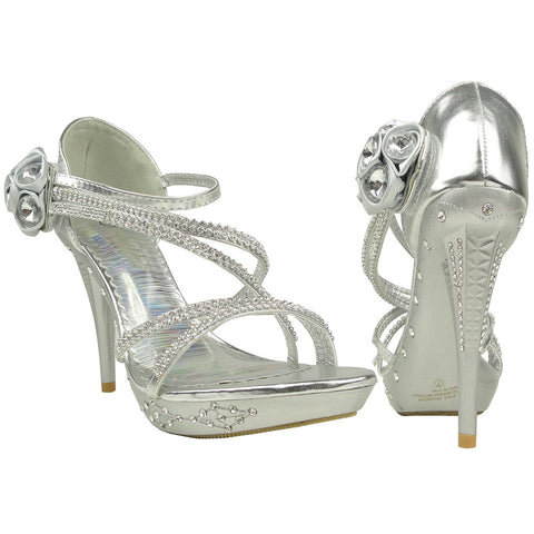 Womens Dress Sandals Asymmetrical Rhinstone Strap High Heel Shoes Silver