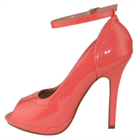 Womens Dress Shoes Stiletto Tonal Stitch Peep Toe Pumps Pink