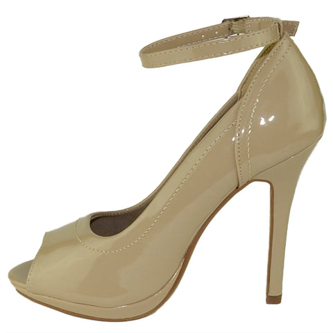 Womens Dress Shoes Stiletto Tonal Stitch Peep Toe Pumps Taupe