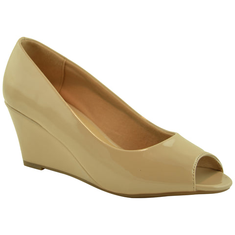 Womens Dress Shoes Chic Peep Toe Sexy Wedge Heels Beige
