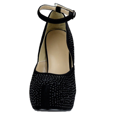 Womens Platform Shoes Ankle Strap Studded Rhinestone Stiletto Pumps black