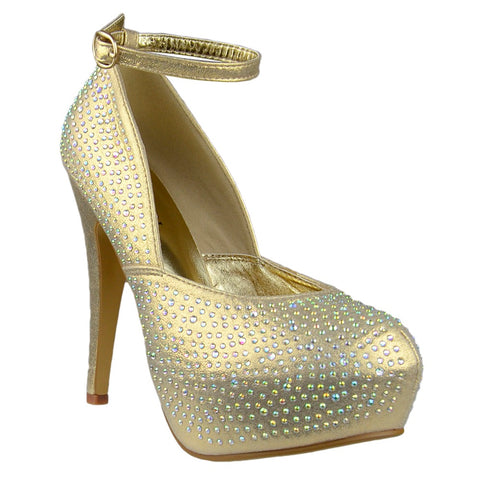 Womens Platform Shoes Ankle Strap Studded Rhinestone Stiletto Pumps Gold