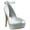Womens Platform Shoes Ankle Strap Studded Rhinestone Stiletto Pumps Silver