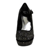 Womens Platform Shoes Rhinestone Studs Wedges black