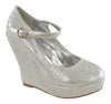 Womens Platform Shoes Rhinestone Studs Wedges Silver
