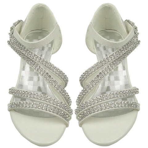 Kids Dress Sandals Rhinestone Cross Strap High Heel Pageant Shoes White