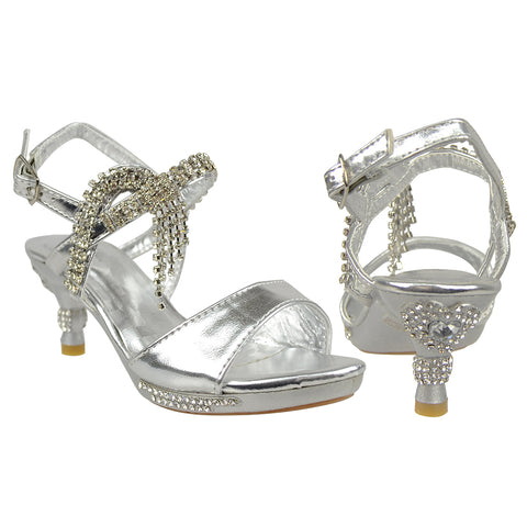 Kids Dress Sandals Rhinestone Accent Low Heel Evening Pageant Shoes Silver