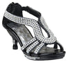 Kids Dress Sandals Teardrop Rhinestone Strap Pageant High Heels black