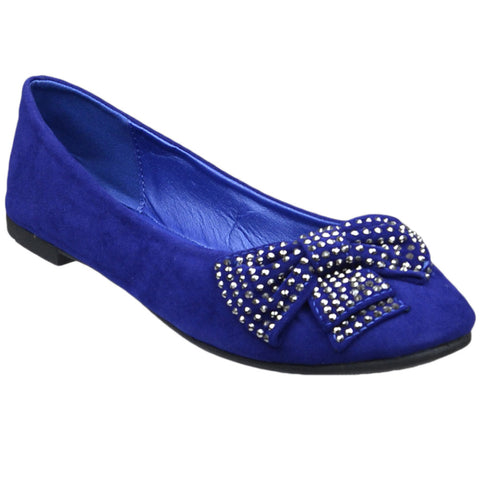 Womens Flat Shoes Studded Bow Accent Slip On Comfort Shoes Blue
