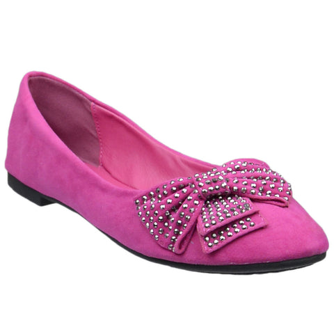 Womens Flat Shoes Studded Bow Accent Slip On Comfort Shoes Pink
