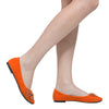 Womens Flat Shoes Studded Bow Accent Slip On Comfort Shoes Orange