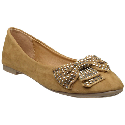 Womens Flat Shoes Studded Bow Accent Slip On Comfort Shoes Tan