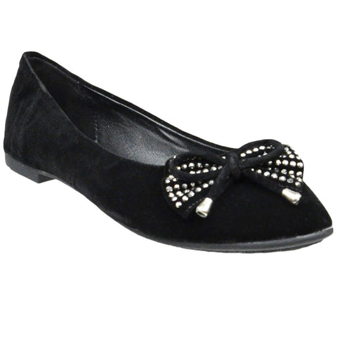 Womens Flat Shoes Studded Bow Tassel Accent Faux Suede Shoes black