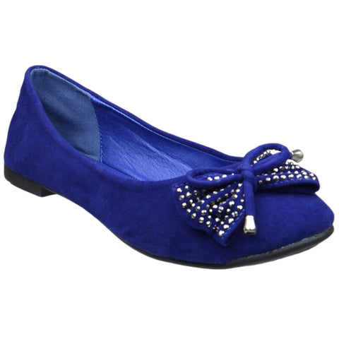 Womens Flat Shoes Studded Bow Tassel Accent Faux Suede Shoes Blue