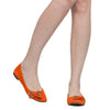 Womens Flat Shoes Studded Bow Tassel Accent Faux Suede Shoes Orange