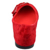 Womens Flat Shoes Studded Bow Tassel Accent Faux Suede Shoes Red