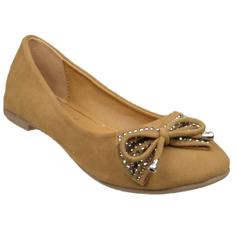 Womens Flat Shoes Studded Bow Tassel Accent Faux Suede Shoes Tan