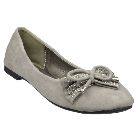Womens Flat Shoes Studded Bow Tassel Accent Faux Suede Shoes Taupe