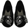 Kids Ballet Flats Velvet Embellished Side Bow Comfort Slip On Shoes black