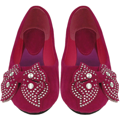 Kids Ballet Flats Velvet Embellished Side Bow Comfort Slip On Shoes Pink