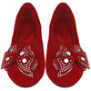 Kids Ballet Flats Velvet Embellished Side Bow Comfort Slip On Shoes Red