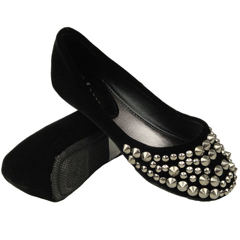 Kids Ballet Flats Suede Spiked Studded Casual Comfort  Slip On black