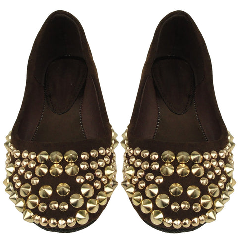Kids Ballet Flats Suede Spiked Studded Casual Comfort  Slip On Brown