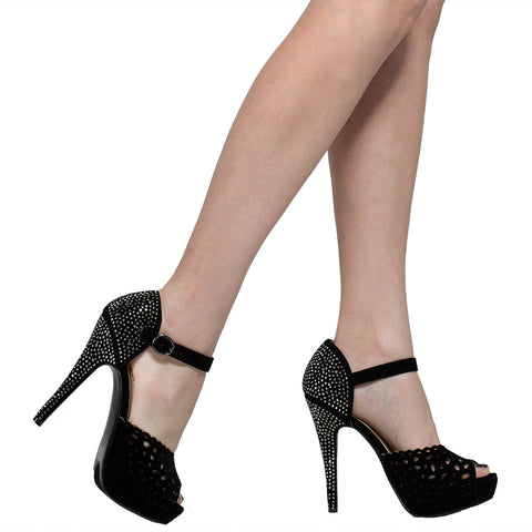 Womens Platform Sandals Studded Laser Cutout Peeptoe Stiletto Pumps black