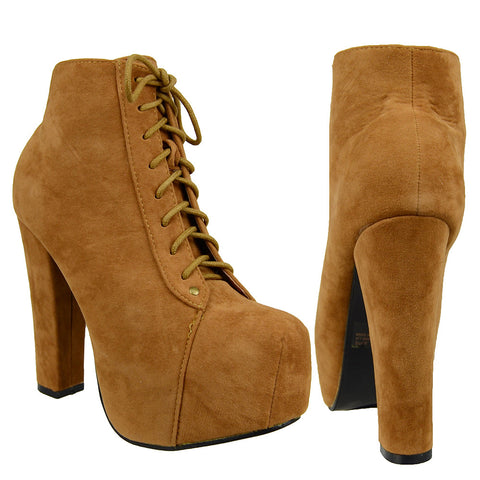 Womens Ankle Boots Chunky High Heel Suede Lace Up Shoes Tan