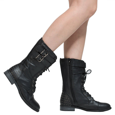 Womens Ankle Boots Buckle Accent Studs Lace Up Combat Boots Black