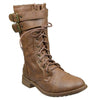 Womens Ankle Boots Buckle Accent Studs Lace Up Combat Boots Tan