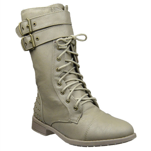 Womens Ankle Boots Buckle Accent Studs Lace Up Combat Boots Taupe