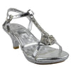 Kids Dress Sandals Embellished T-Strap Seashell Pageant High Heels Silver