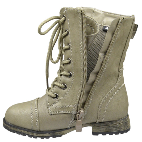 Kids Mid Calf Boots Buckle Accent Lace Up Combat Boots Taupe
